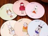 T 英国 甜美可爱卡通小镜子 便携金属化妆镜 随身镜子 兔子 2535