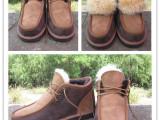 新款雪地靴羊皮毛一体雪地靴牛筋底拼色男女款雪地靴系鞋带