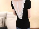 2014新款韩版女装热销 修身后背大V透视蕾丝性感短袖t恤女k8