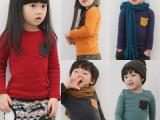 2013春装韩版爆款彩色口袋女童装男童装宝长袖T恤打底衫0000