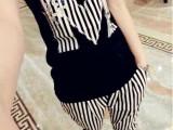 2014黑白条纹M字母镶钻短袖T恤条纹小脚裤两件套休闲套装新