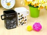 日韩简约至极黑白方口对杯 欧式情侣杯 方口情侣杯子 陶瓷套杯