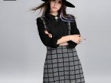 2015秋装新款格子连衣裙女 欧美时尚显瘦拼接大码女装连衣裙80