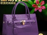 广州新款鳄鱼纹品牌女包 女士pu皮单肩包手提包批发 支持来样定做