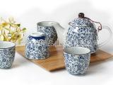 原是家居 蓝色碎花茶具 5入礼盒 茶壶茶杯 品茗 居家良品