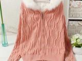 新款女装韩版连帽加厚毛衣外套女秋冬麻花拉链加绒开衫针织衫