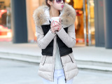 冬季爆款推荐时尚新品上市 连帽高仿大毛领拼色中长款棉衣批发