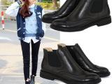 欧洲站新款短靴 低跟圆头 牛皮打蜡英伦时尚雕花马丁靴 一件代发