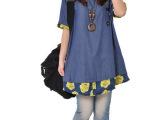 2014夏装新款 韩版宽松大码 印花拼接学院风短袖衬衫连衣裙女装