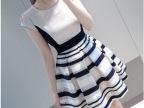 现货韩国代购夏装新款雪纺欧根纱拼接时尚条纹连衣裙 打底裙
