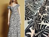 批发柔维丝印花家纺面料 时尚黑白树叶印花布料服装布料裙面料