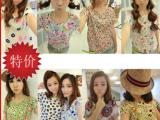 2014夏装新款韩女装版宽松印花短袖雪纺衫上衣打底小t恤衫批发