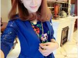 2013年夏装新款 日韩淑女 气质拼接蕾丝袖一粒扣假口袋西装外套