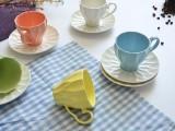 创意咖啡杯碟色土陶瓷 礼品陶瓷咖啡杯碟 可订制加印LOGO