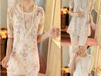 2014夏装新款欧洲站韩版雪纺衫中袖圆领蕾丝衫女装中长款打底衫