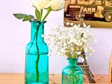 欧式格调蓝玻璃花瓶amp冷水壶系列-大嘴瓶/小平口