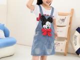 童装儿童女童背带牛仔裙卡通米奇2014秋韩版新款小宝宝连衣裙子