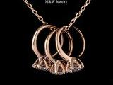 精品饰品批发 玫瑰金白金电镀 三个锆石戒指锁骨链 项链