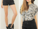 972 stylenanda最新秋冬款 兜兜设计的高腰型短裤