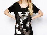 2014夏季欧美风女装新款 黑色字母83烫金连衣裙 圆领短袖连衣
