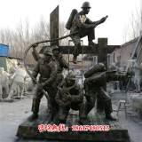 雕塑-玻璃钢仿铜消防员雕塑加工
