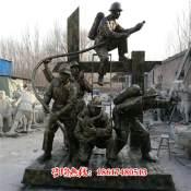 消防战士救火情景雕塑厂