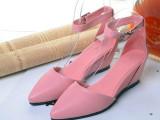 欧美站 尖头羊皮中空坡跟高跟鞋 外贸品牌女鞋金属搭扣时尚凉鞋