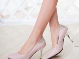2015新款女鞋纯色高跟鞋 水钻装饰女单鞋 欧美潮鞋 一手货源批