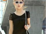 日韩女装欧莉莎品牌大码女装 蕾丝短袖圆领修身上衣 现货批发