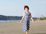 【沙滩裙】条纹吊带漏后背女童沙滩裙 波西米亚女童长裙