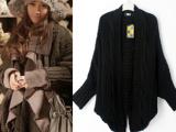 菁菁秀粗棒针海马麻花披肩蝙蝠袖针织蓬松发式配搭毛衣#P1-679
