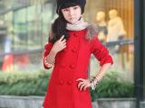 韩版中大女童羊毛加厚双排扣时尚儿童毛呢外套 童装外套 批发