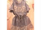 夏装新款韩国代购韩版收腰显瘦条纹连衣裙 短袖露肩女连衣裙
