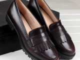 14春新款欧美复古英伦风真皮流苏单鞋圆头低跟女牛津单鞋一件代发