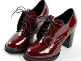 外贸鞋 春秋复古深口真皮女鞋 新品圆头系带粗高跟单鞋