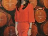 2015春夏新品女装批发 欧美大牌赵薇同款华家红色连体裤配送项链