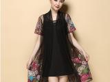 模特实拍中老年女装夏装真两件套装刺绣妈妈装宽松连衣裙子