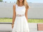 特尔美2015速卖通欧美外贸女士蕾丝拼接无袖圆领白色连衣裙女装