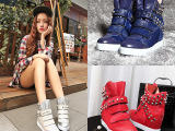 时尚新款女鞋 大牌同款进口马毛头层牛皮内增高欧美短靴 里外全皮