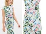 夏季欧美风女装垂袖一字领连衣裙 修身开叉包臀中裙 印花旗袍