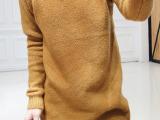 韩国东大门代购同款花边蕾丝领纯色中长款针织衫毛衣女连衣裙