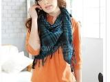 2696日韩系列十足女人味方型围巾 蓝绿