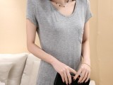 2014秋季女装新款韩版口袋宽松V领短袖女T恤修身薄款厂家直销
