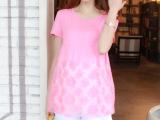 孕妇装 孕妇T恤春夏装时尚新款韩版欧根纱拼接款纯棉蕾丝短袖T恤