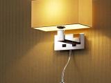 工厂批发现代中式方形布艺装饰壁灯客厅书房床头酒店客房灯不锈钢