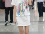 2014新款韩版时尚修身连衣裙缩腰胸前彩色马图案印花短袖连衣裙女