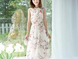 夏装新品韩版时尚印花中长款无袖修身雪纺气质飘逸显瘦长裙连衣裙