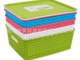 日式叠加带盖塑料收纳篮厨房置物储物筐玩具多用整理箱大号编制蓝