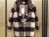 2014秋冬新款女装 韩版中长款毛呢外套韩国羊毛格子呢子大衣女