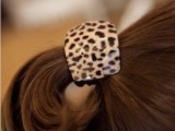 C014銮尚韩国进口 饰品 Aznavour 豹纹大方块皮筋头绳